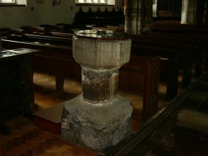 Baptismal font St. Saviours, Dartmouth, Devon, UK.