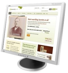 Ancestry.co.uk home page on screen