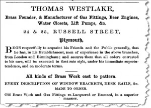 Trade advertisement from 1852 Plymouth