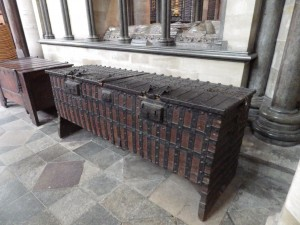 A parish chest with three locks