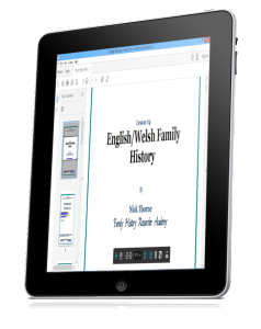 English/Welsh family history course on tablet computer