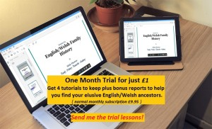 One month trial of the Family History Researcher Academy English/Welsh course