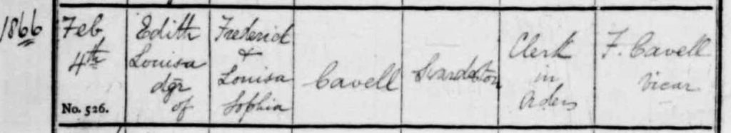 Edith Cavell baptism on TheGenealogist