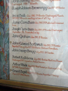 Isaac Hall in a war memorial in Cumbria
