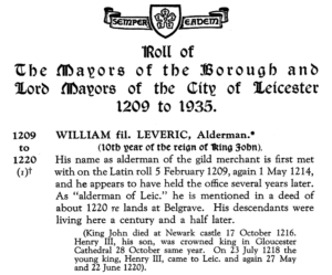 The first Mayor listed in the Roll of Mayors of the Borough and Lord Mayors of the City of Leicester on TheGenealogist
