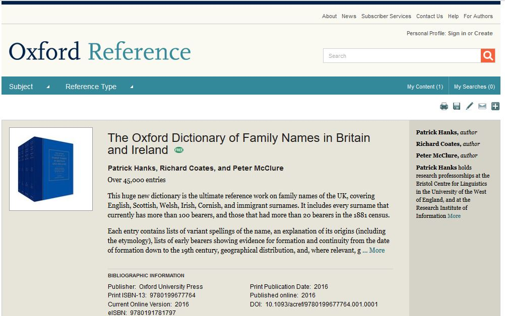 Oxford Dictionary of Family Names special access May 2020