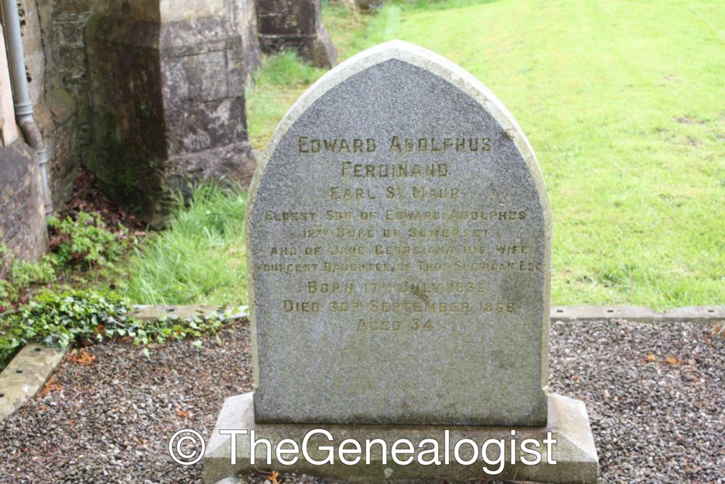A simple headstone for the Earl St Maur the Eldest Son of Edward Adolphus 12th Duke of Somerset