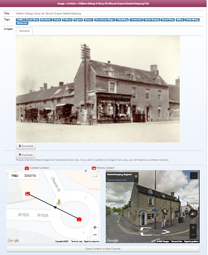 View an image of a place and compare old photo with modern view