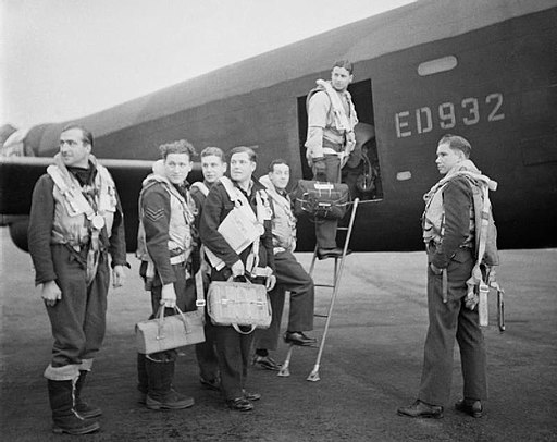 Wing Commander Guy Gibson and his crew boarding their Lancaster bomber